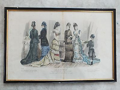 Gerahmte Litho - Frauenkleidung - Le Coquet - in schmaler Schellackleiste
