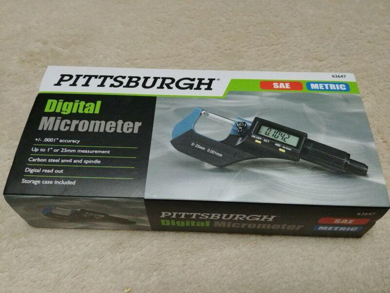 Pittsburgh Digital Micrometer - SAE & METRIC (Model 63647) *New*