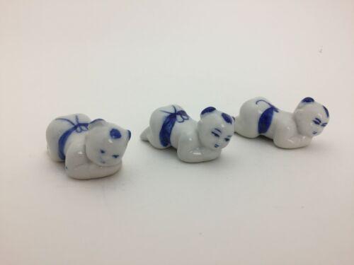 Chinese Baby Chop Stick Rest Knife Rest Blue White Porcelain Vintage Set of 3