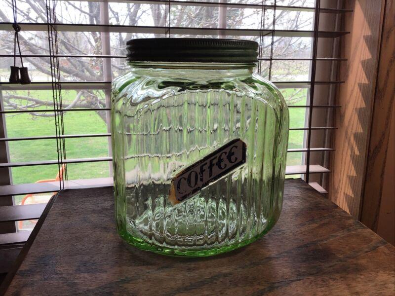 Large Vintage Hoosier Style  Vaseline Green Glass Coffee Cannister Jar Rare!