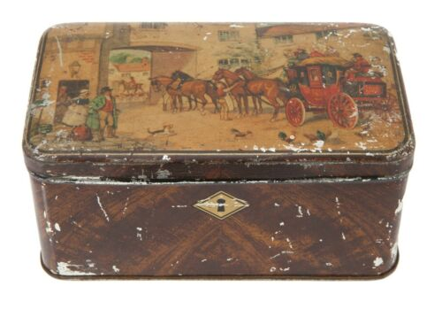 FREE SHIP: Vintage Large Metal Tin Box  - Litho English Town & Country Coach