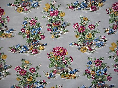Beautiful single vintage 50's floral barkcloth fabric curtain - 1.8M long