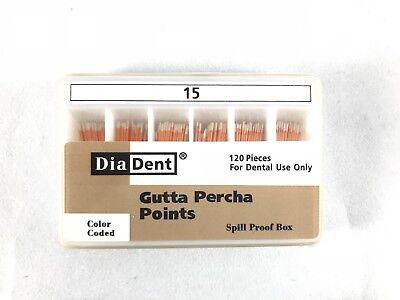 Diadent Gutta Percha Points Endodontics 120 Pieces All Sizes Spill Proof Box