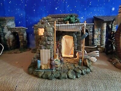 """Fontanini Pottery Shop Lighted Building for 5"""" Scale Nativity Set Heirloom"""