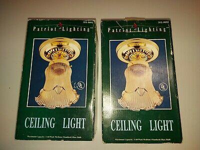 2x Vintage Patriot Lighting Light Fixture Art Deco Mid Mod Glass Brass Polished