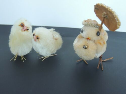 Antique Easter Cotton Baby Chick Wire Wrapped Feet Figurine Figure Ornament CUTE