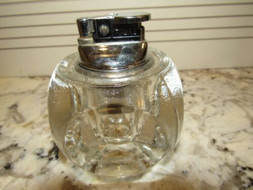 VINTAGE HEAVY GLASS TABLE TOP CIGARETTE LIGHTER-MADE IN JAPAN-TOP LIFTS OUT