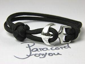 Paracord-Bracciale-con-chiusura-ancora-uomo-armband-schwarz-surfer-braccialetto