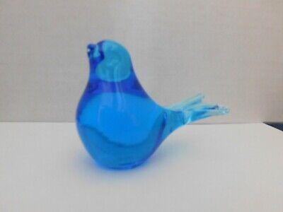 Glass BIRD Split-Tail Blue paperweight figurine