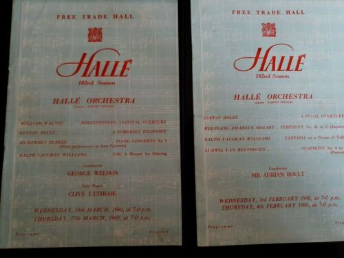 Free Trade Hall - HALLE ORCHESTRA - A. Boult /  G. Weldon - 2 x Progs. - 1960