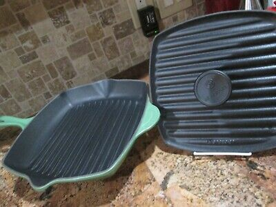 """LE CREUSET ENAMELED CAST IRON FENNEL GREEN SQ SKILLET GRILL #26 12"""" PANINI PRESS"""