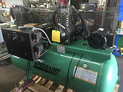 Speedaire 3 Ph. Horizontal Tank Mounted 7.5HP x 2 120 gal Air Compressor 35WC63