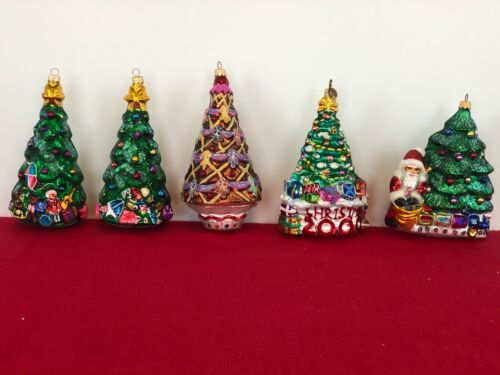 Retired Christopher Radko Christmas Tree Group of 5 Handblown Ornaments