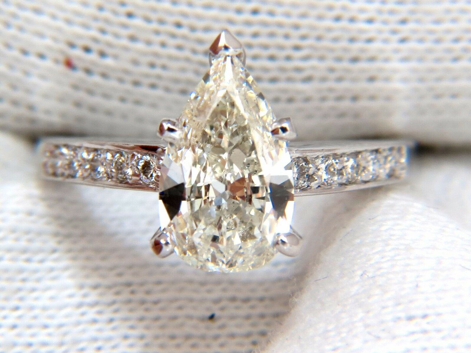 GIA Certified 1.49ct Pear Shape diamond ring .20ct. round accents 14kt 6