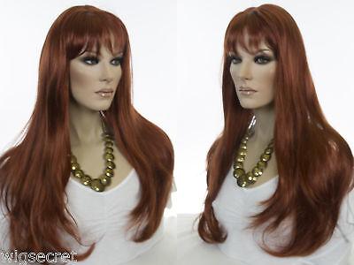 Long Skin Top Wavy Straight Blonde Brunette Red Grey Wigs - Long Brunette Wig