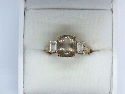 Vintage 9ct yellow gold Smoky Quartz and white Sapphire ring. Size O.