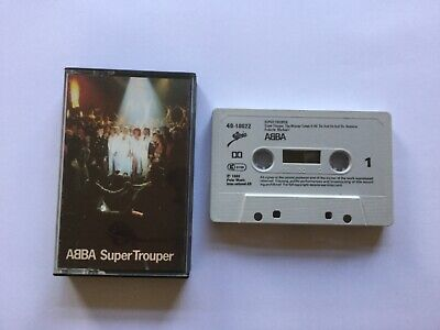 """ABBA """" SUPER TROUPER """" CASSETTE ALBUM FULLY PLAY TESTED. 1980 EPIC + INLAY CARD."""