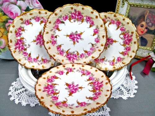 Stunning Limoges France set of 4 dessert plate pink roses raised beaded 22kt gld