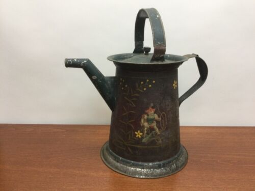 EARLY Vintage TOLEWARE Hand-Painted Watering Can Pitcher Tin TOLE Art ANTIQUE