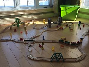 Wooden train set- extensive, 2 kits together