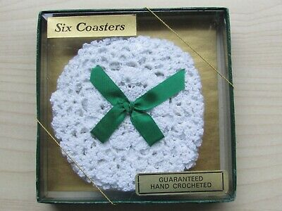 VINTAGE GUARANTEED HAND CROCHETED SIX COASTERS - NEW/SEALED.