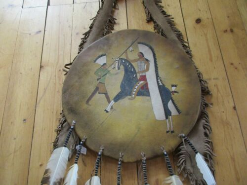 """NATIVE AMERICAN CEREMONIAL LEATHER SHIELD, 21"""" PAINTED """"COUNTING COUP"""", SD-03697"""