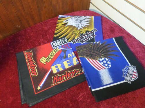 Vintage Harley Davidson Bandana Lot of 3 1980s Righteous Armed & Ready Eagle USA
