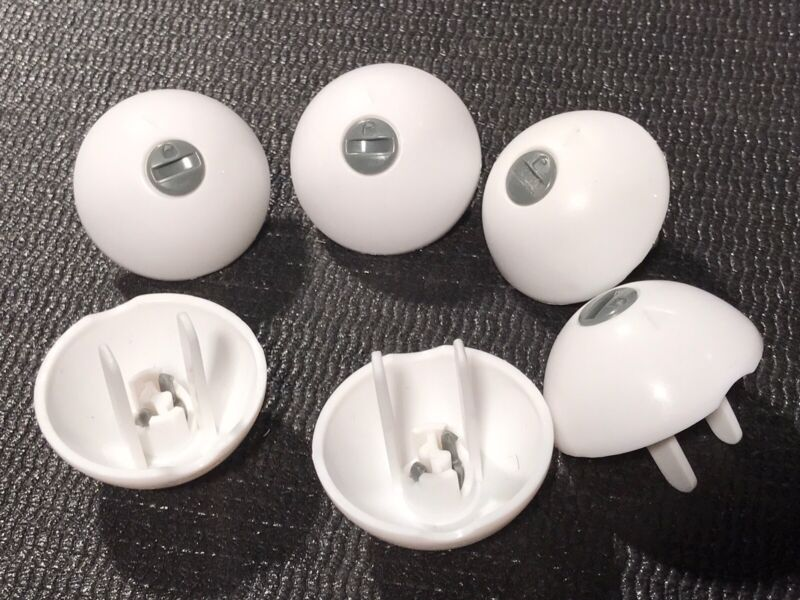 Six Round White Outlet Covers - Baby Safety Plug Protectors - Secure Connection