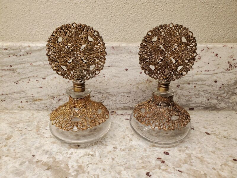 2 Vintage Ormolu Filigree Gilt Perfume Bottles with Daubers; EUC