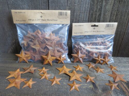 """200 pc Lot Rusty Stars 100 ea 1.5"""" & 2.25"""" Primtive Country Metal Barn Rusted"""
