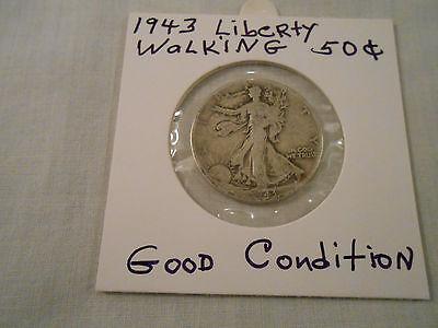 COIN:USA: 1943 Liberty Walking Half Dollar: 1 Coin:Silver/Circulated/Original