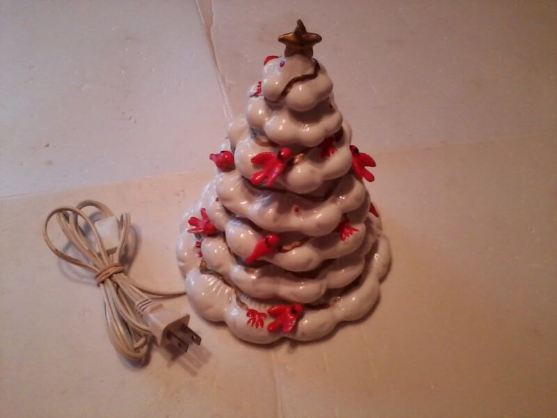 porcelain electric lighted christmas  tree birds