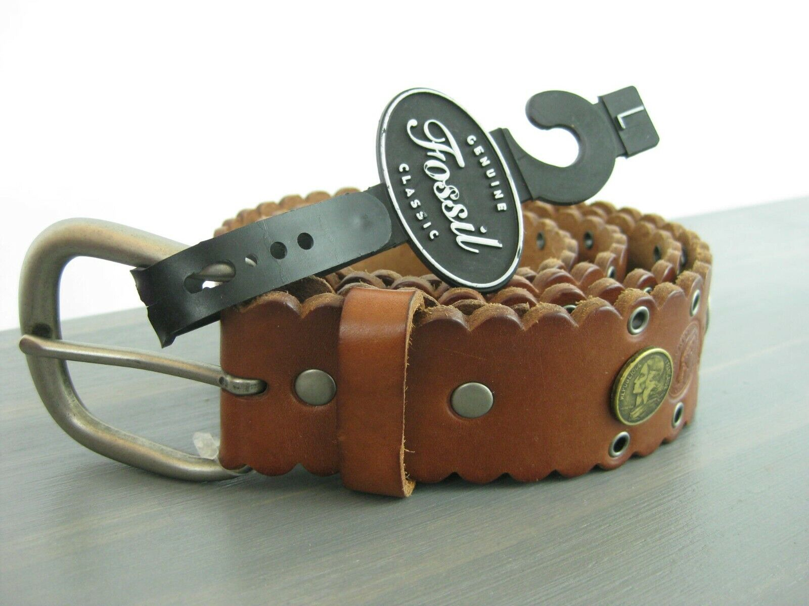 NWT Fossil Tan Brown Leather Money Grommets Women Belt Size