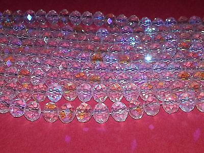 New 8x6mm Crystal Suncatcher Faceted Abacus Glass Beads Spacer Loose Beads 72pc.
