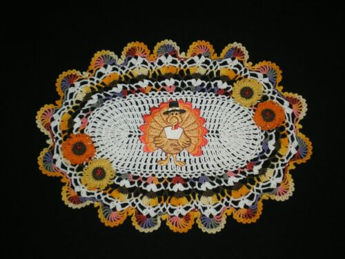 New Thanksgiving Turkey Embroidered/Fall Flowers Handmade Crocheted Doily