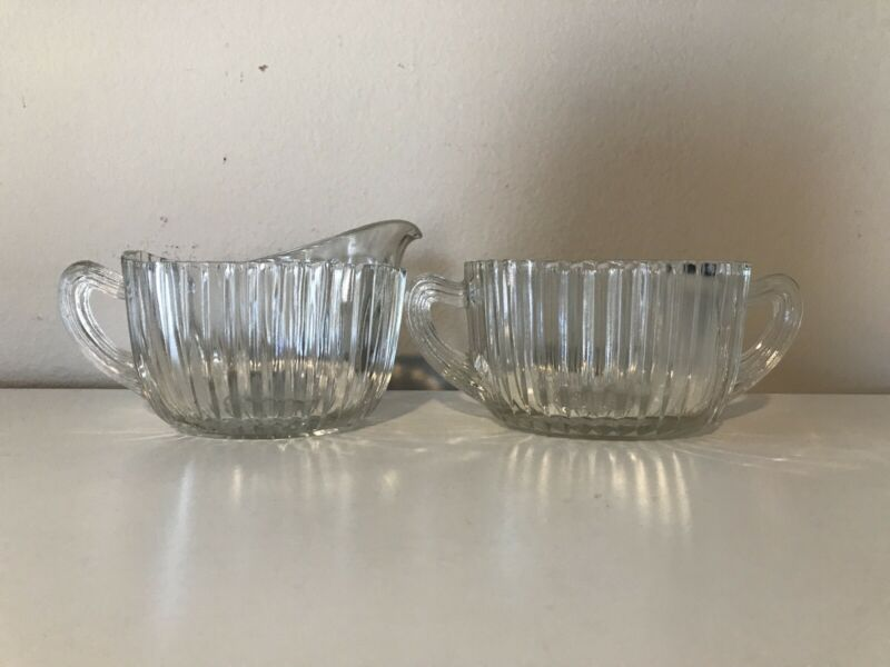 Anchor Hocking Depression Glass Queen Mary Creamer and Sugar