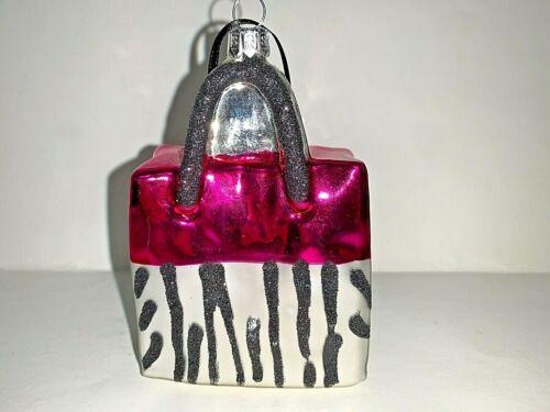 Summit Pink Silver Black Animal Print Handbag Blown glass Christmas Ornament