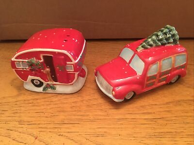 Red Pickup Truck with Christmas Tree Salt & Pepper Shakers New in Box Ceramic