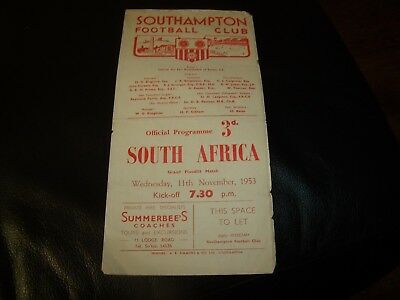 southampton v south africa 11/11/1953 friendly