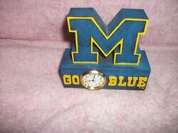 4 University of MICHIGAN Wolverines Desk Clock Go Blue U of M