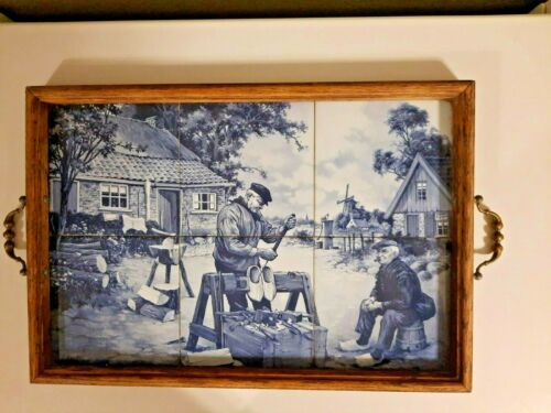 Vintage Delft Dutch Shoe Maker 6 Tile Tableau Wood Serving Tray  S.C.Van Hunnik
