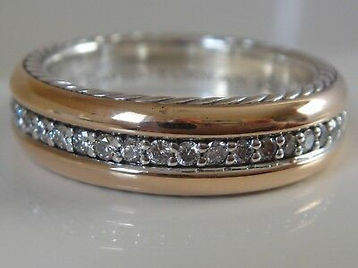 $2750 DAVID YURMAN 18K ROSE GOLD, SS MENS STREAMLINE DIAMOND RING