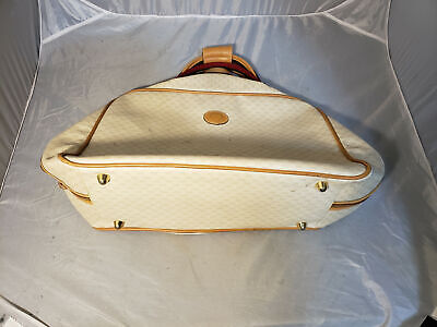 Authentic 1980's Vintage White GUCCI Micro GG Canvas Hand Bag Small Suitcase