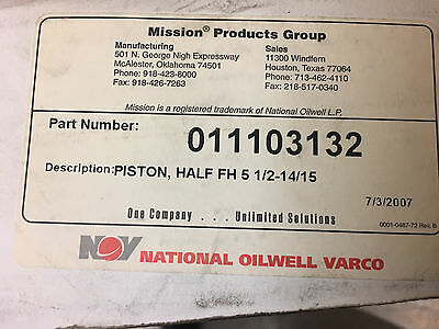 Mud Pump Piston Half Fh 5 12 - 1415 Mission 011103132 National Oilwell Varco