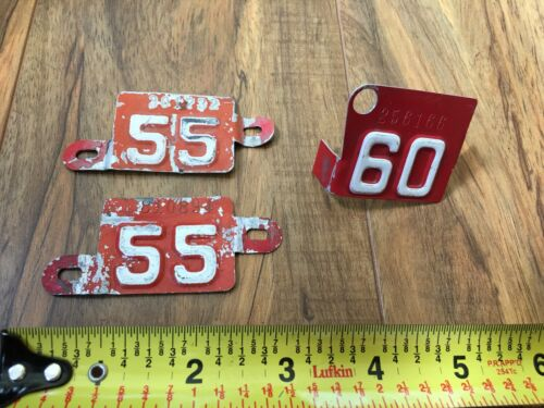 Oregon License Plate Red Metal Tags - 1955 1960