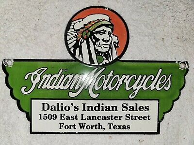 Vintage Indian Motorcycles Porcelain Dealer Sign Harley Davidson Texas Dalio's