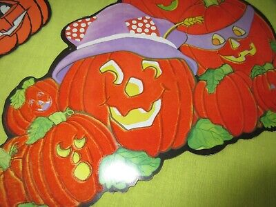 VINTAGE 50'S HALLOWEEN DECORATIONS FLOCKED PUMPKINS EUREKA USA GARLAND FUN!!