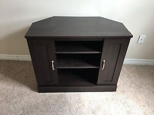 Dark tv stand with cupboards