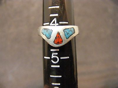 vintage southwestern sterling silver turquoise red coral ring
