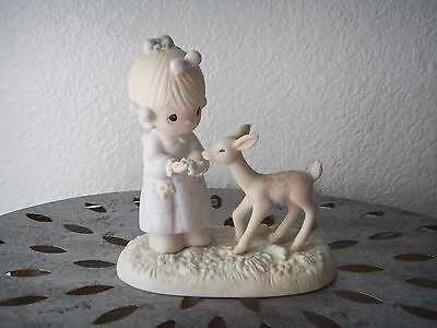 Precious Moments TO MY DEER FRIEND Girl Feed Fawn Porcelain Figurine Sculpture